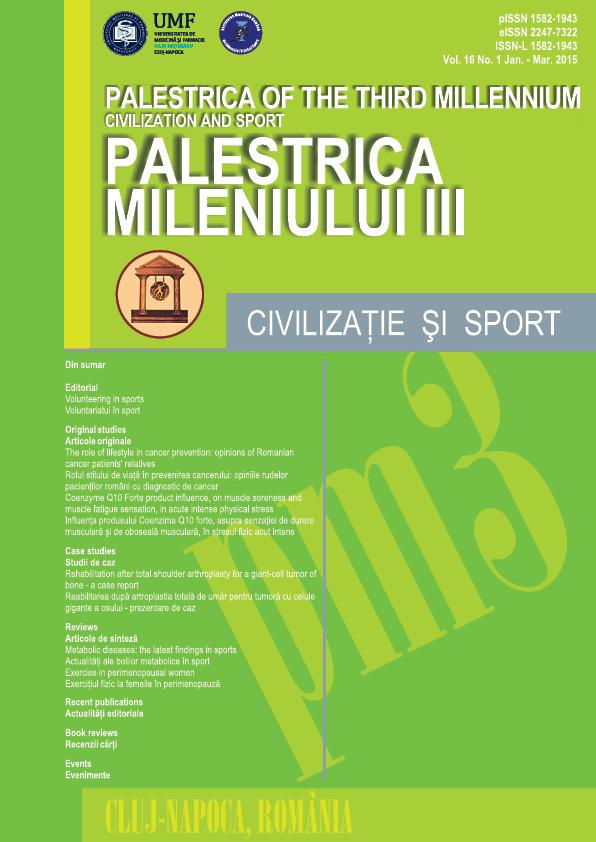 Palestrica mileniului III - Civilizaţie şi sport  Vol. 16, no. 1, Ianuarie-Martie 2015